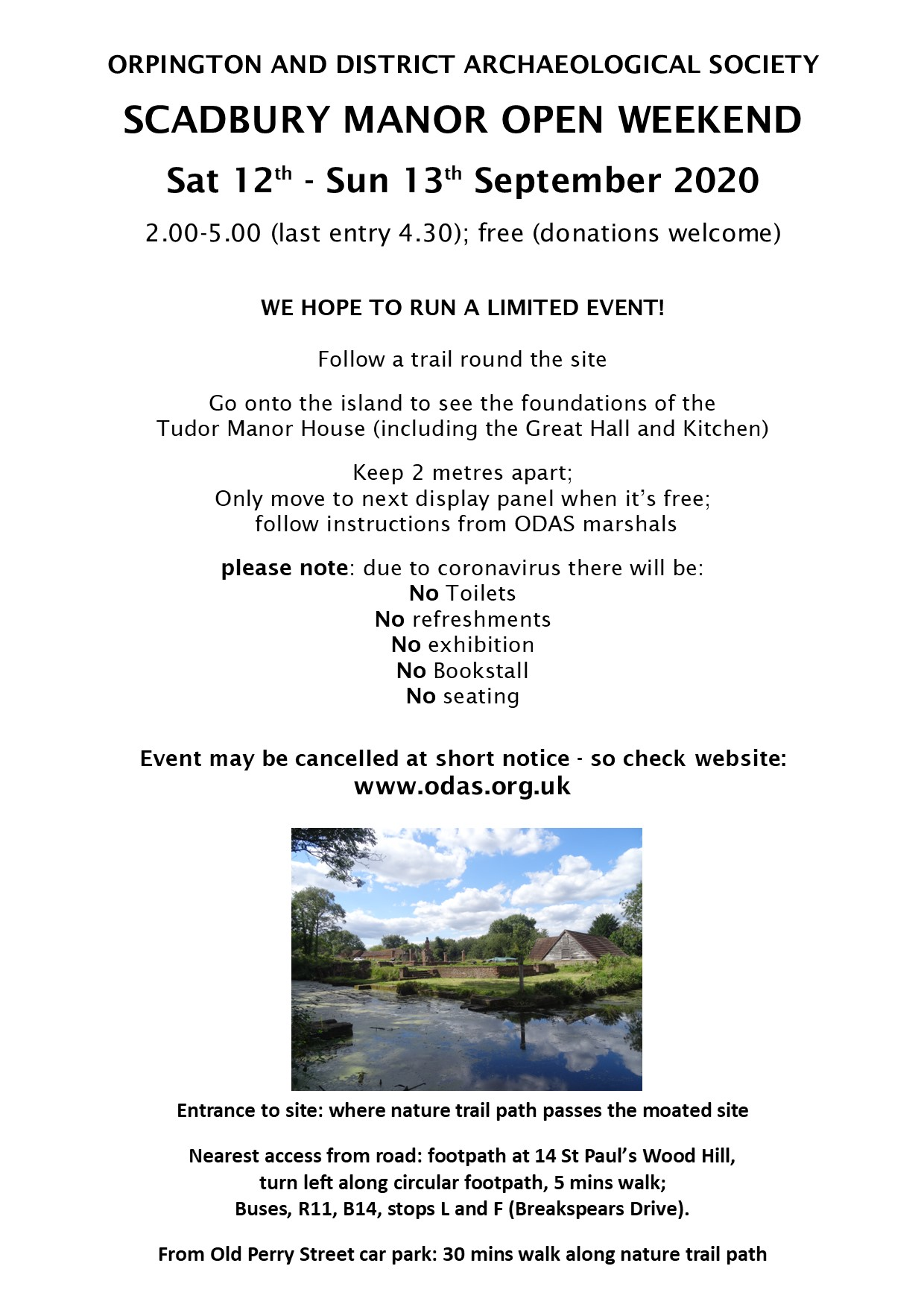 Scadbury Open Day Poster 2020